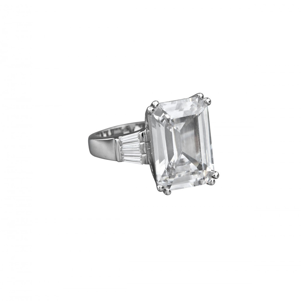 Rhodium Plated Asscher Cut Ring Side View