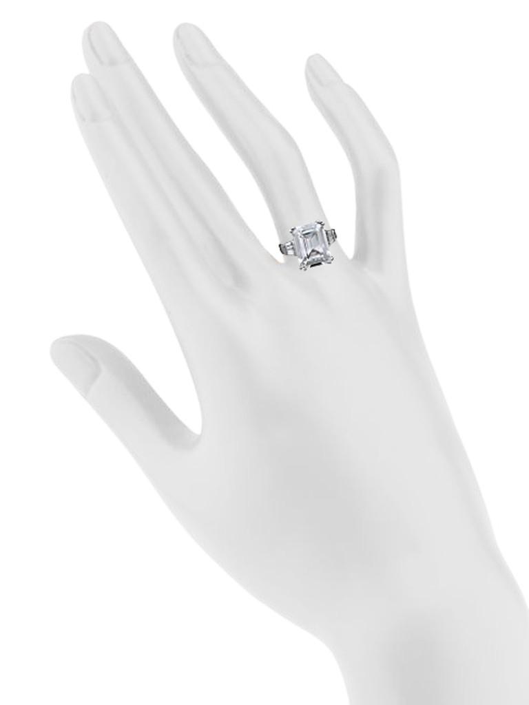 Rhodium Plated Asscher Cut Ring Shown on Hand