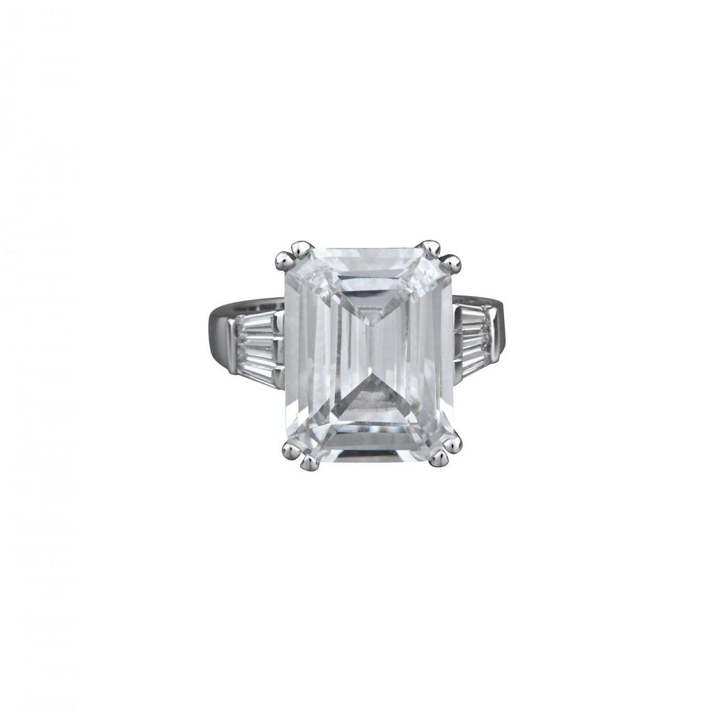 Rhodium Plated Asscher Cut Ring