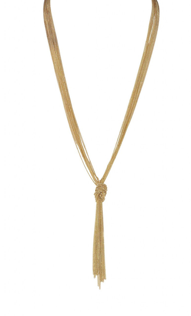 Yellow Gold Plated Slim Knot Chain Necklace