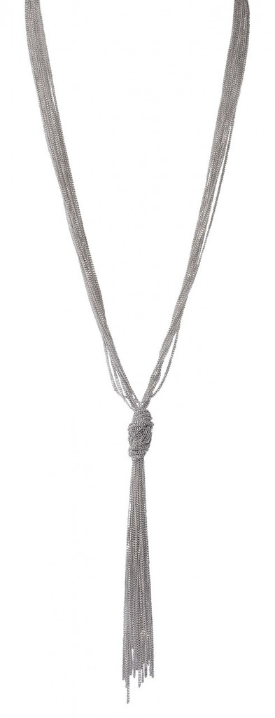 Rhodium Plated Slim Knot Chain Necklace