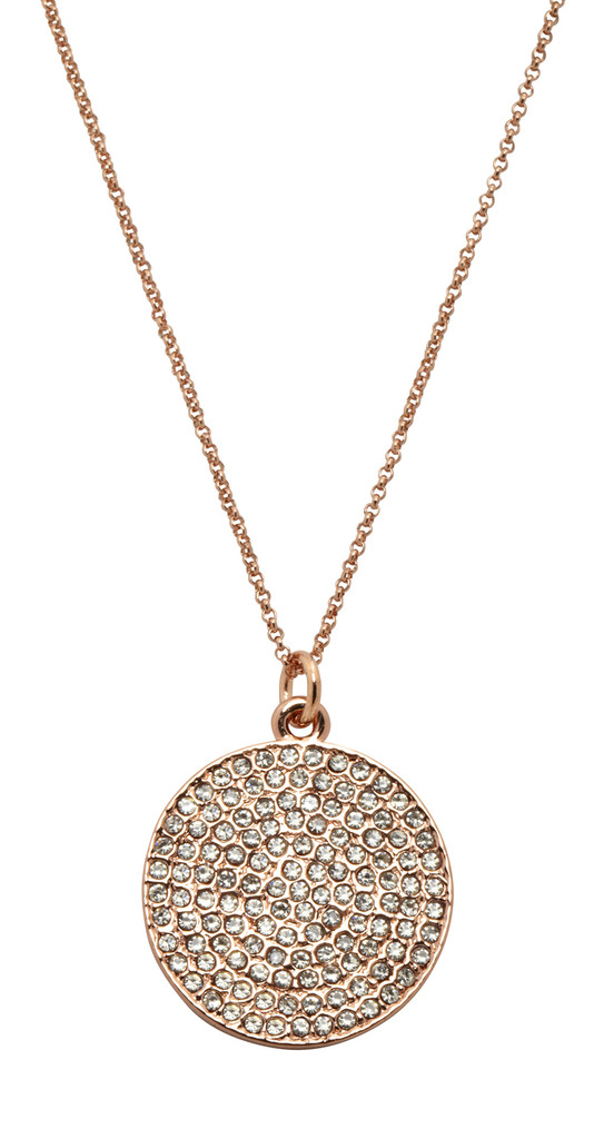Rose Gold Plated Large Pave Disc Necklace