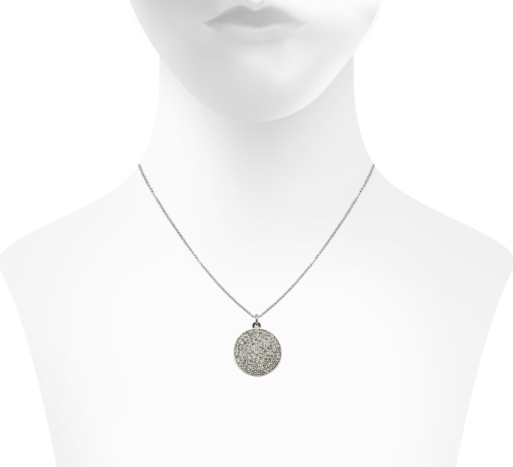 Rhodium Plated Large Pave Disc Necklace Shown on Neck
