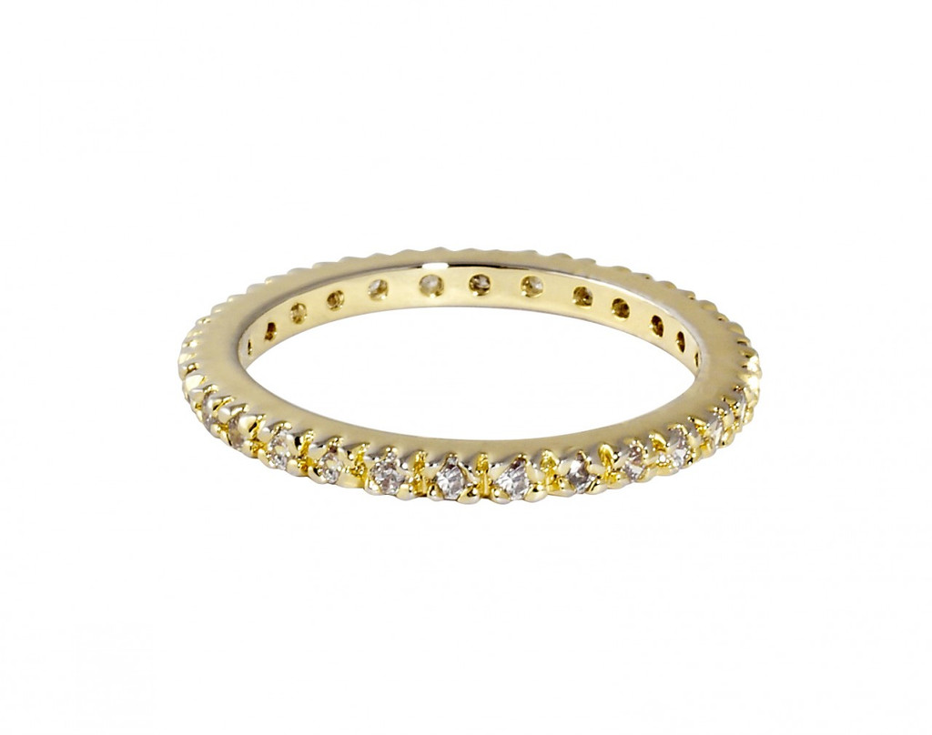 Yellow Gold Plated Thin Laser Cut Eternity Band