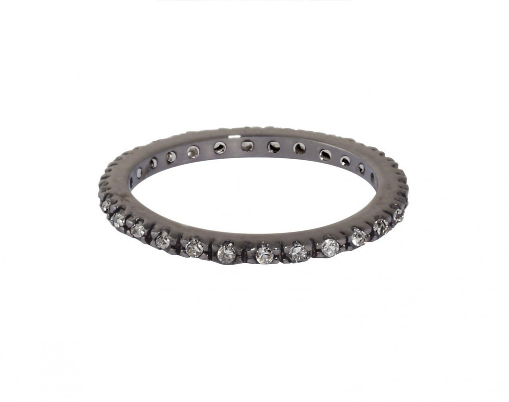 Gunmetal Plated/Clear Thin Laser Cut Eternity Band