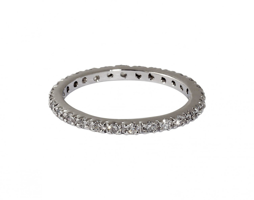 Rhodium Plated Thin Laser Cut Eternity Band