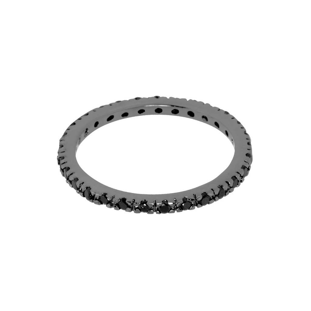 Gunmetal Plated/Black Thin Laser Cut Eternity Band