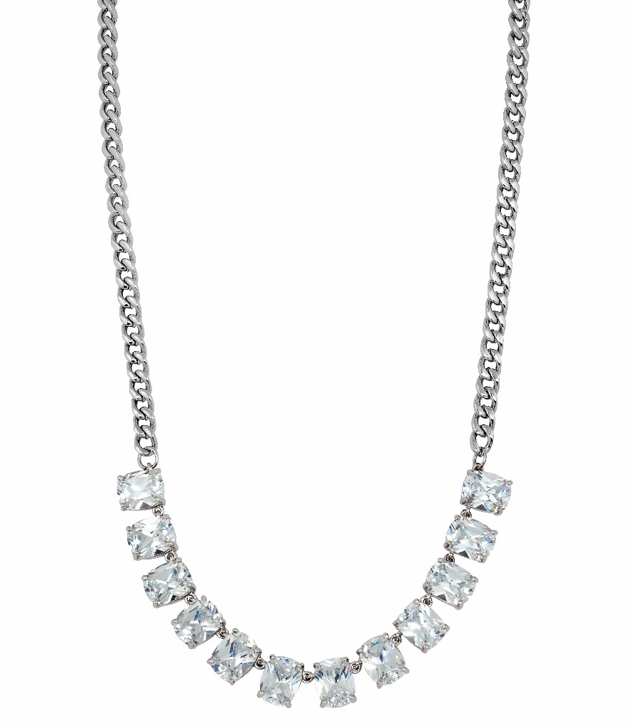 Rhodium Plated Baguette Chain Necklace