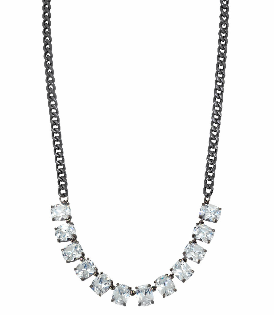 Gunmetal Plated Baguette Chain Necklace