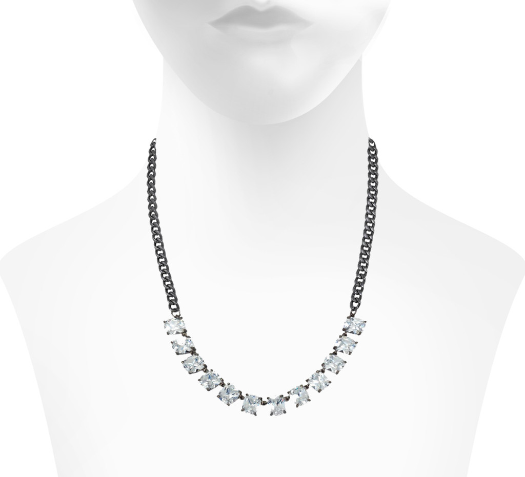 Gunmetal Plated Baguette Chain Necklace Shown on Neck