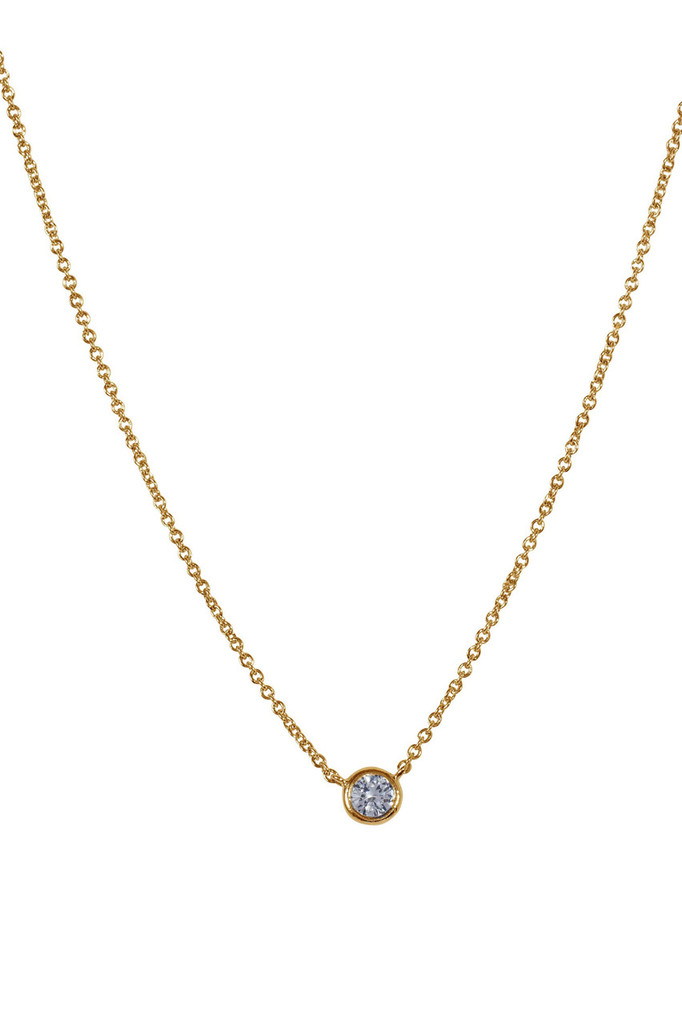 Yellow Gold Plated Encased Crystal Necklace