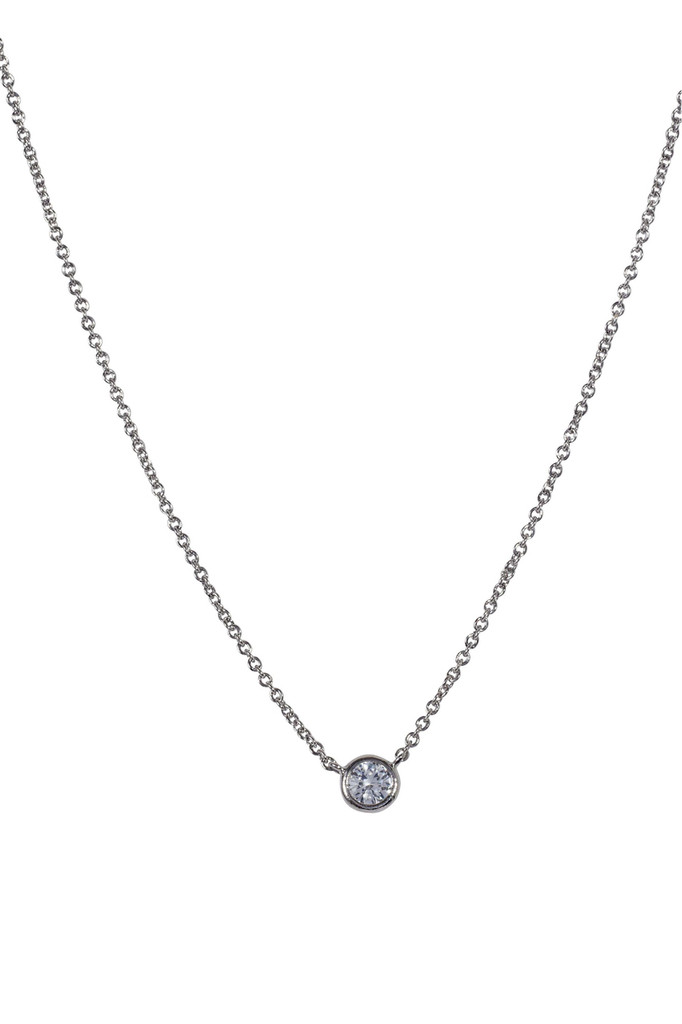 Rhodium Plated Encased Crystal Necklace