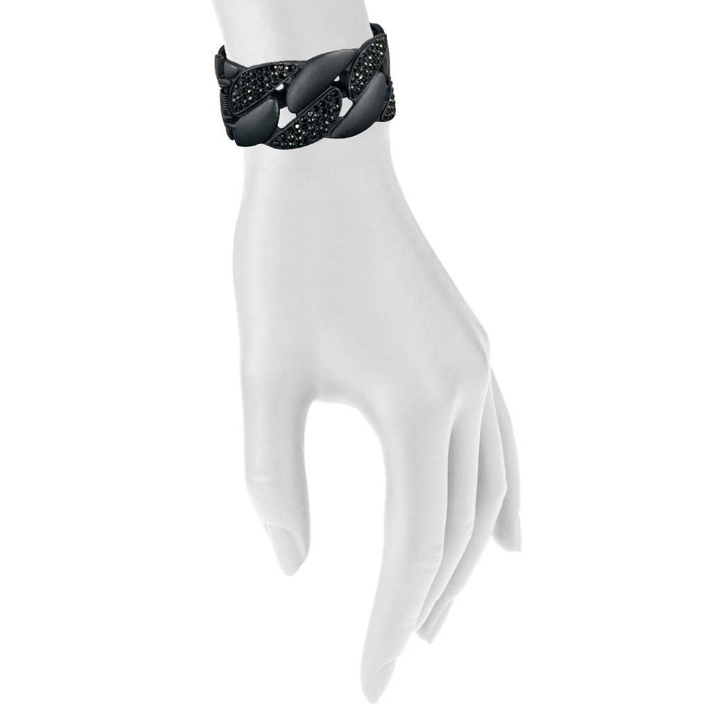 Matte Black Chain Cuff Shown on Arm