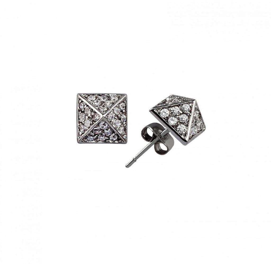 Gunmetal Plated Crystal Pyramid Stud Earrings