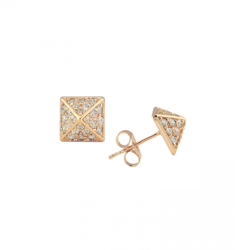 Rose Gold Plated Crystal Pyramid Stud Earrings