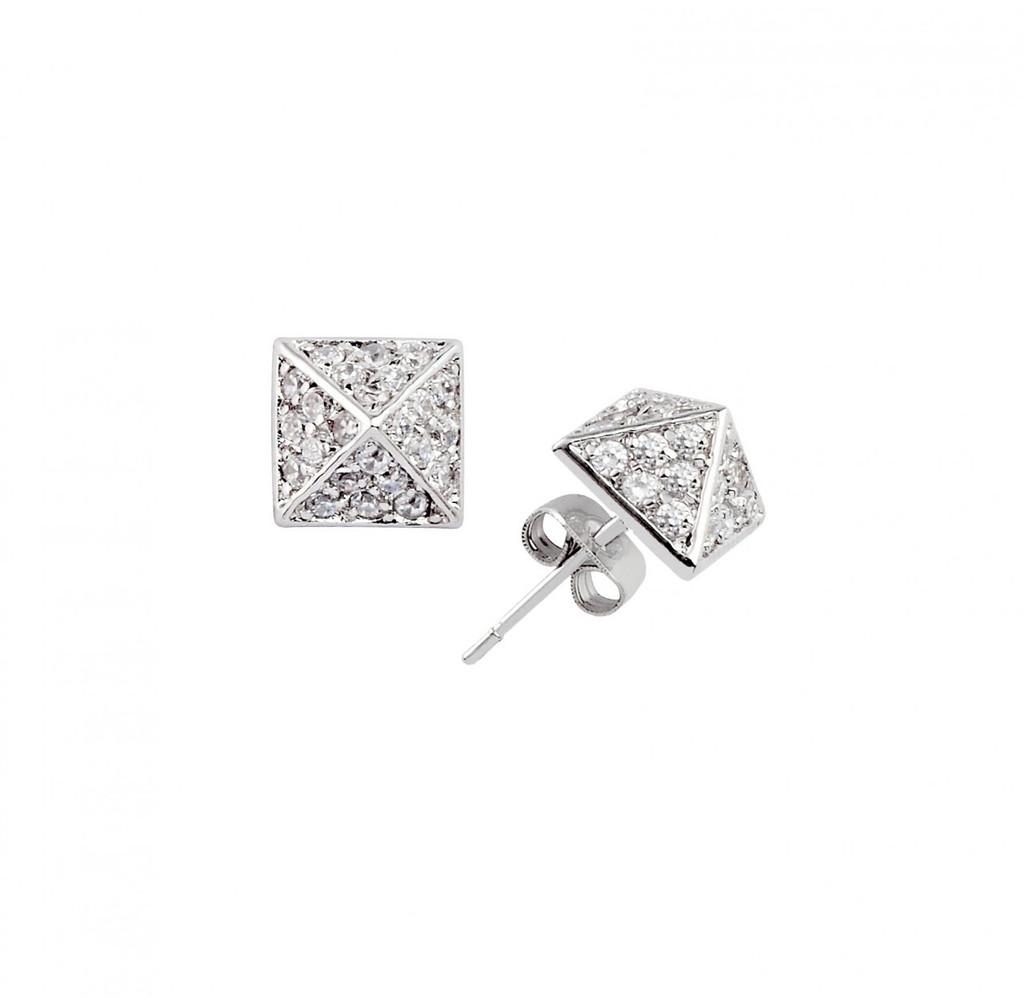 Rhodium Plated Crystal Pyramid Stud Earrings