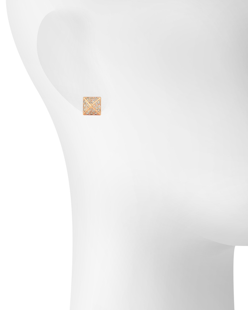 Rose Gold Plated Crystal Pyramid Stud Earrings Shown on Ear