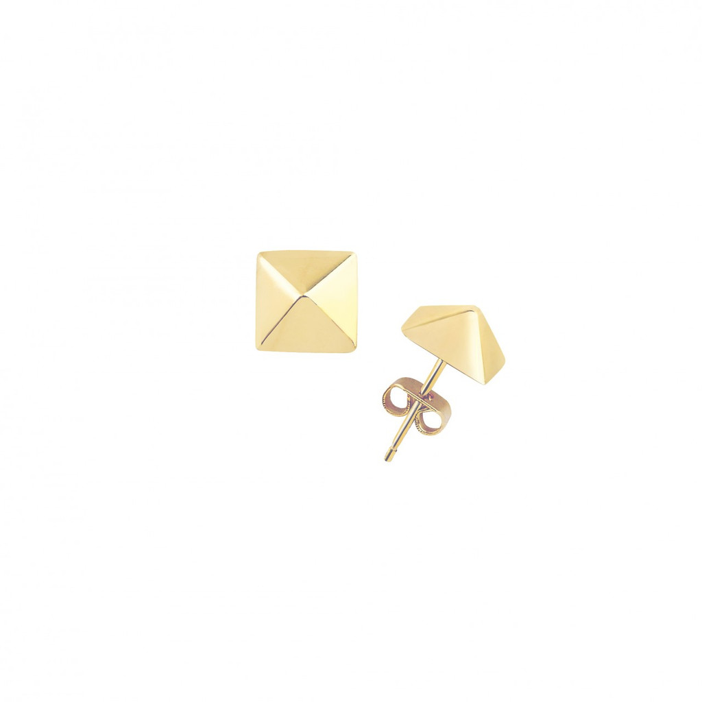 Yellow Gold Plated Small Solid Pyramid Stud Earrings