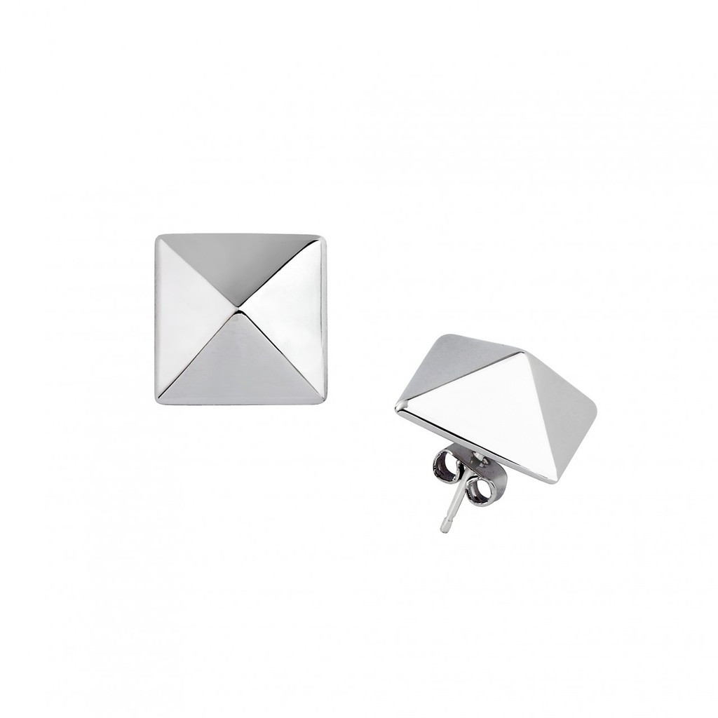Rhodium Plated Large Solid Pyramid Stud Earrings