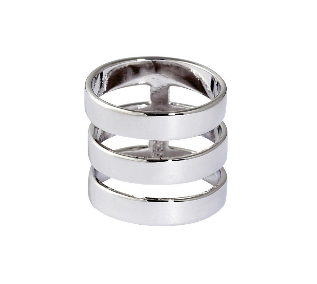Rhodium Plated Solid Brooklyn Ring
