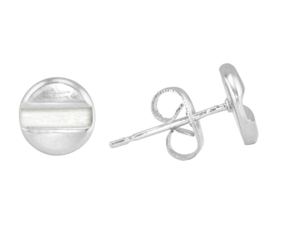 Rhodium Plated Flat Head Screw Stud Earrings