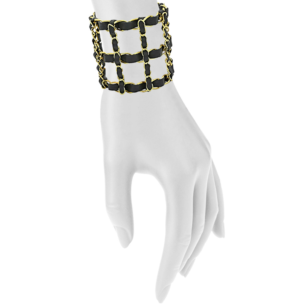 Yellow Gold Plated Black Michèle Cuff Shown on Arm