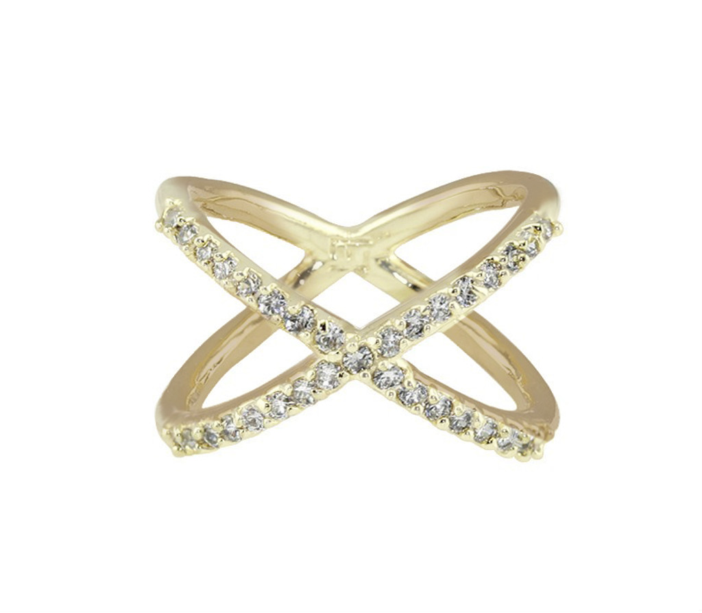 Yellow Gold Plated X Ring