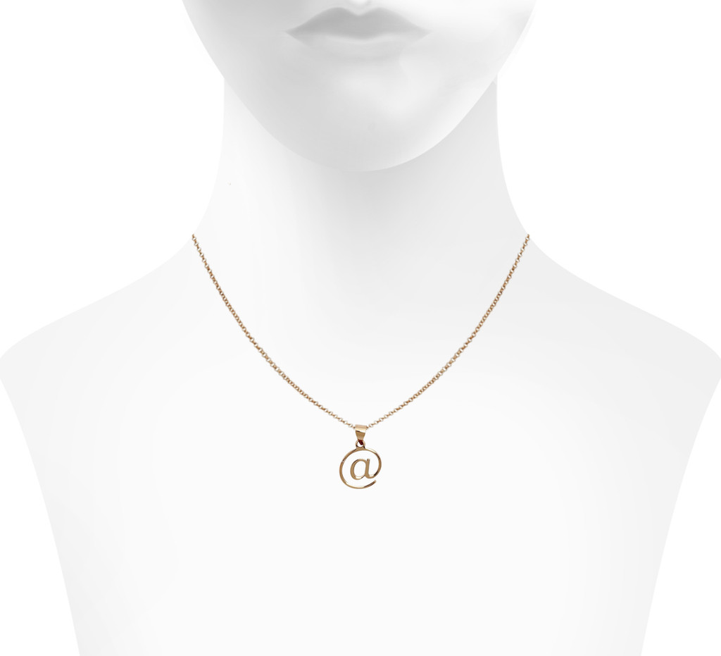 Rose Gold Plated @ Necklace Shown on Neck
