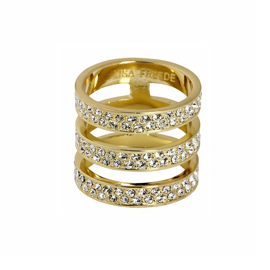 Yellow Gold Plated Crystal Brooklyn Ring