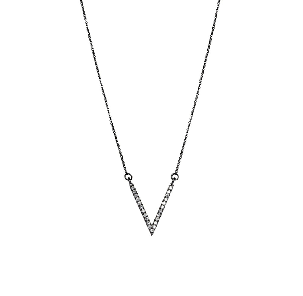 Gunmetal Plated Micro Pave Small V Necklace