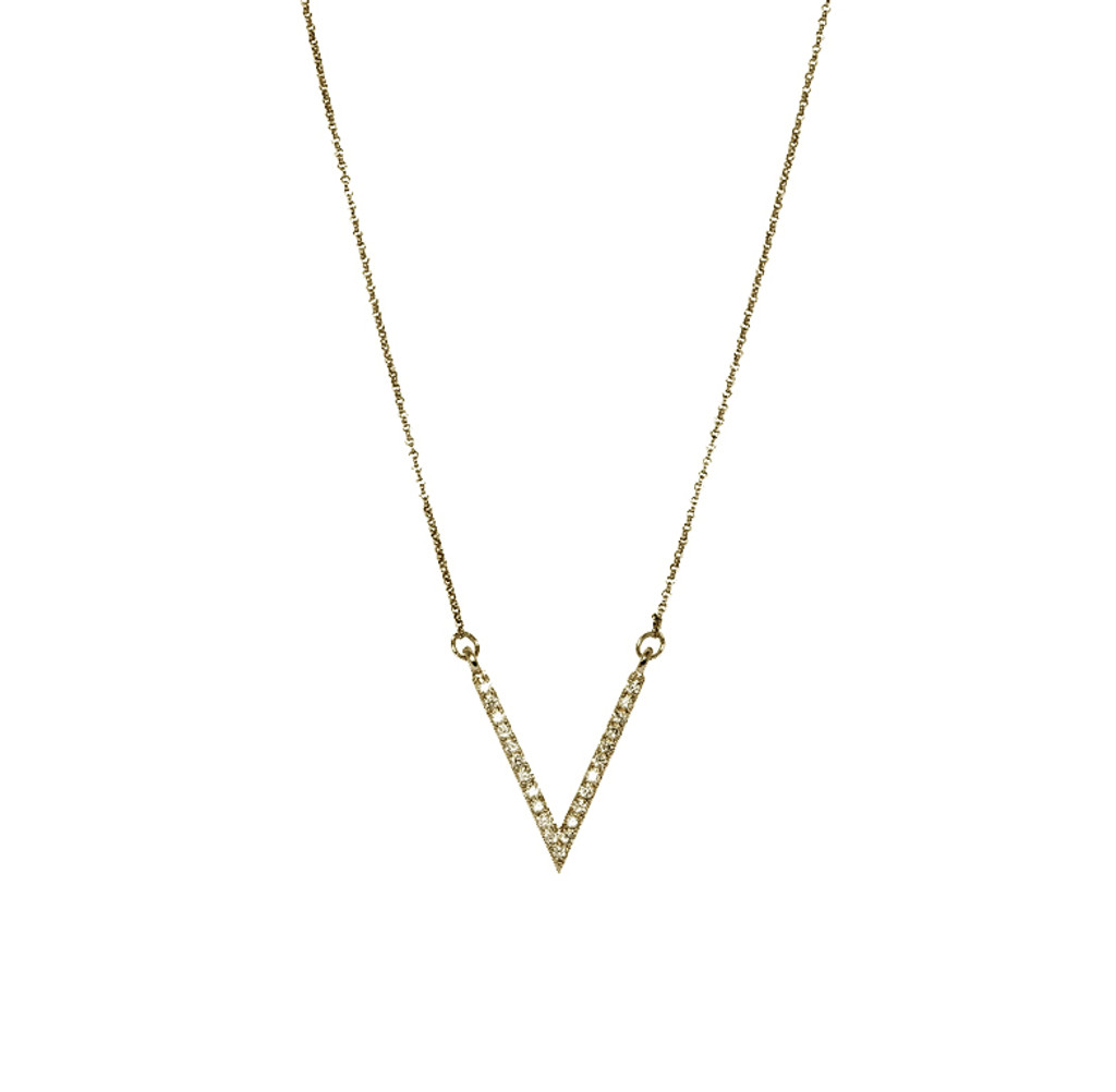 Yellow Gold Plated Micro Pave Small V Necklace