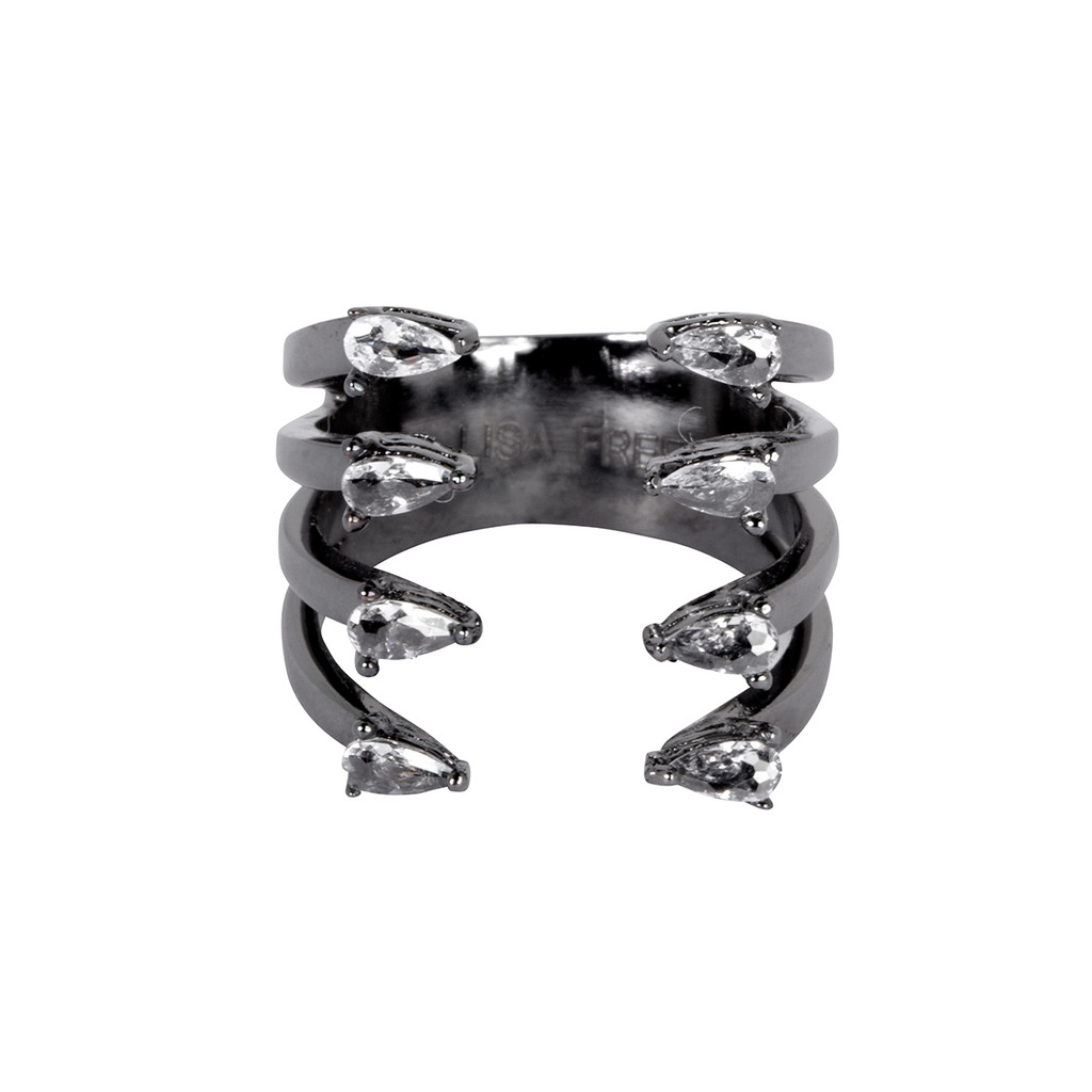 Gunmetal Plated 4 Line Ava Ring