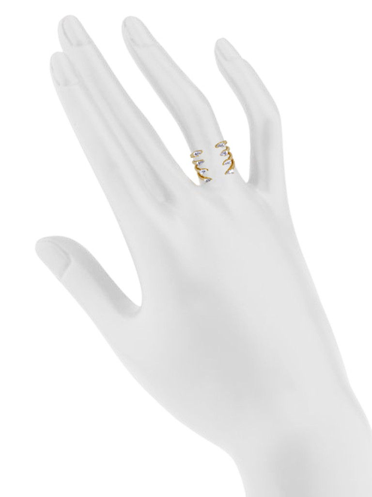 Yellow Gold Plated 4 Line Ava Ring Shown on Hand
