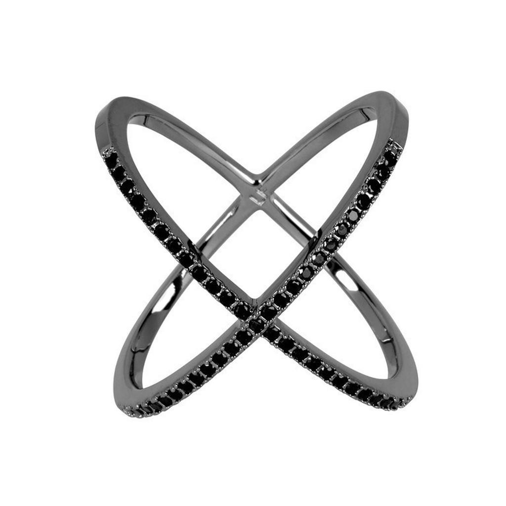 Gunmetal Plated/Black Large Micro Pave X Ring