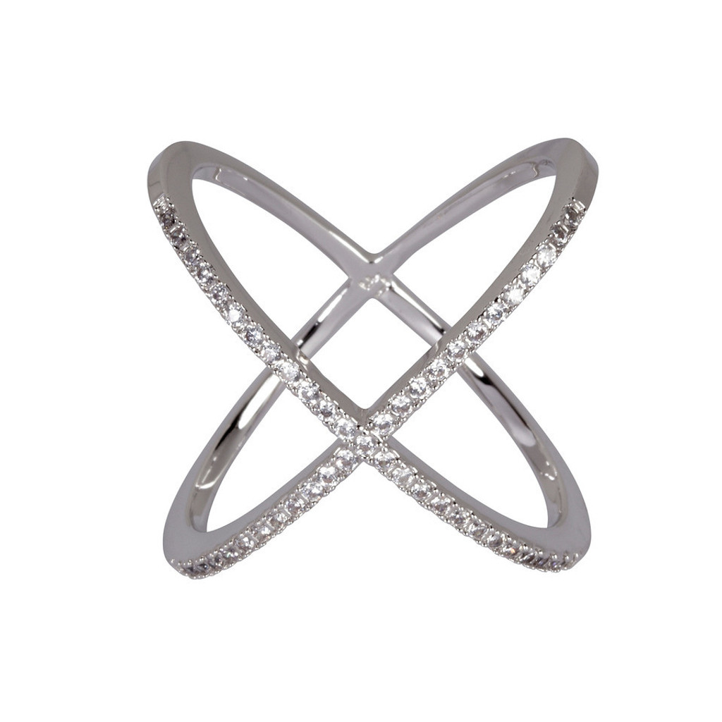 Rhodium Plated Large Micro Pave X Ring