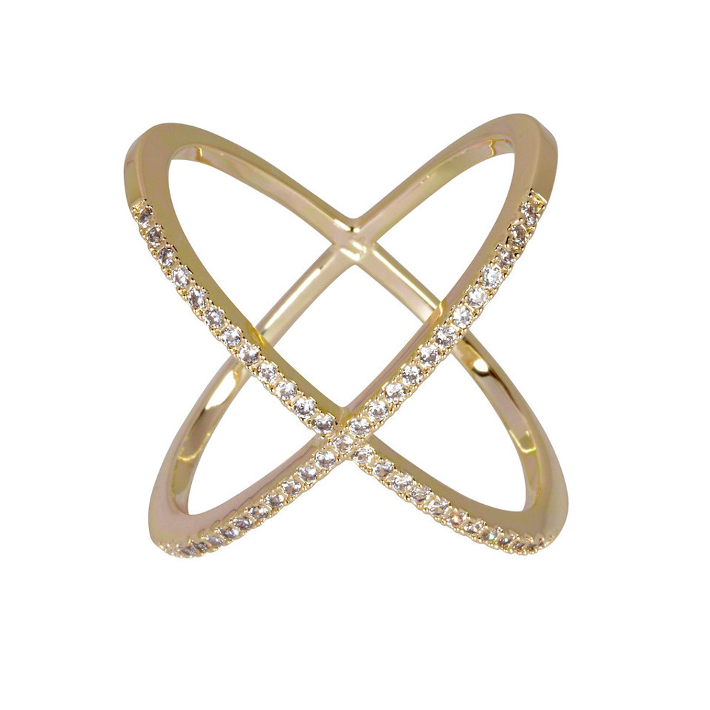 Yellow Gold Plated Large Micro Pave X Ring