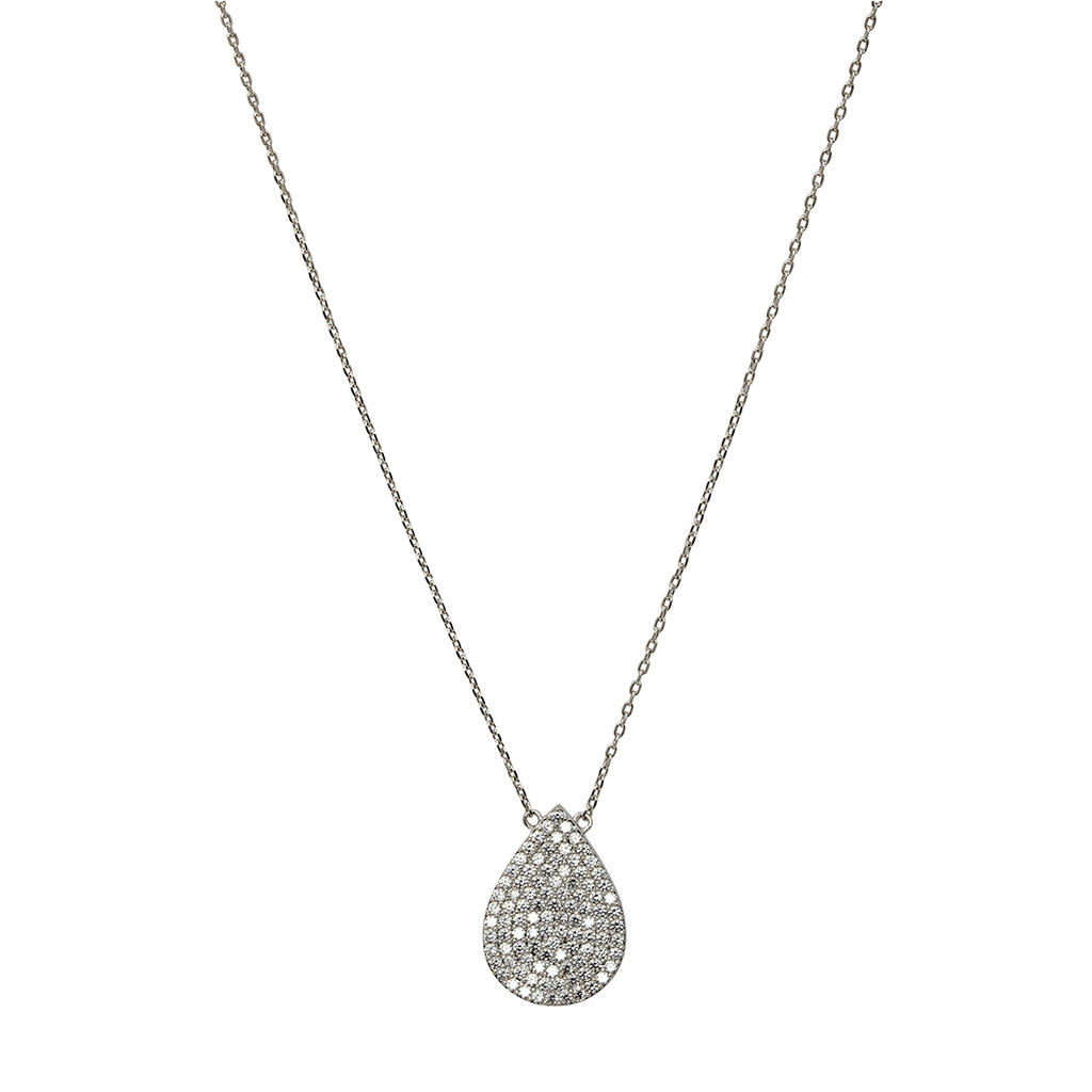 Rhodium Plated Micro Pave Teardrop Pendant Necklace