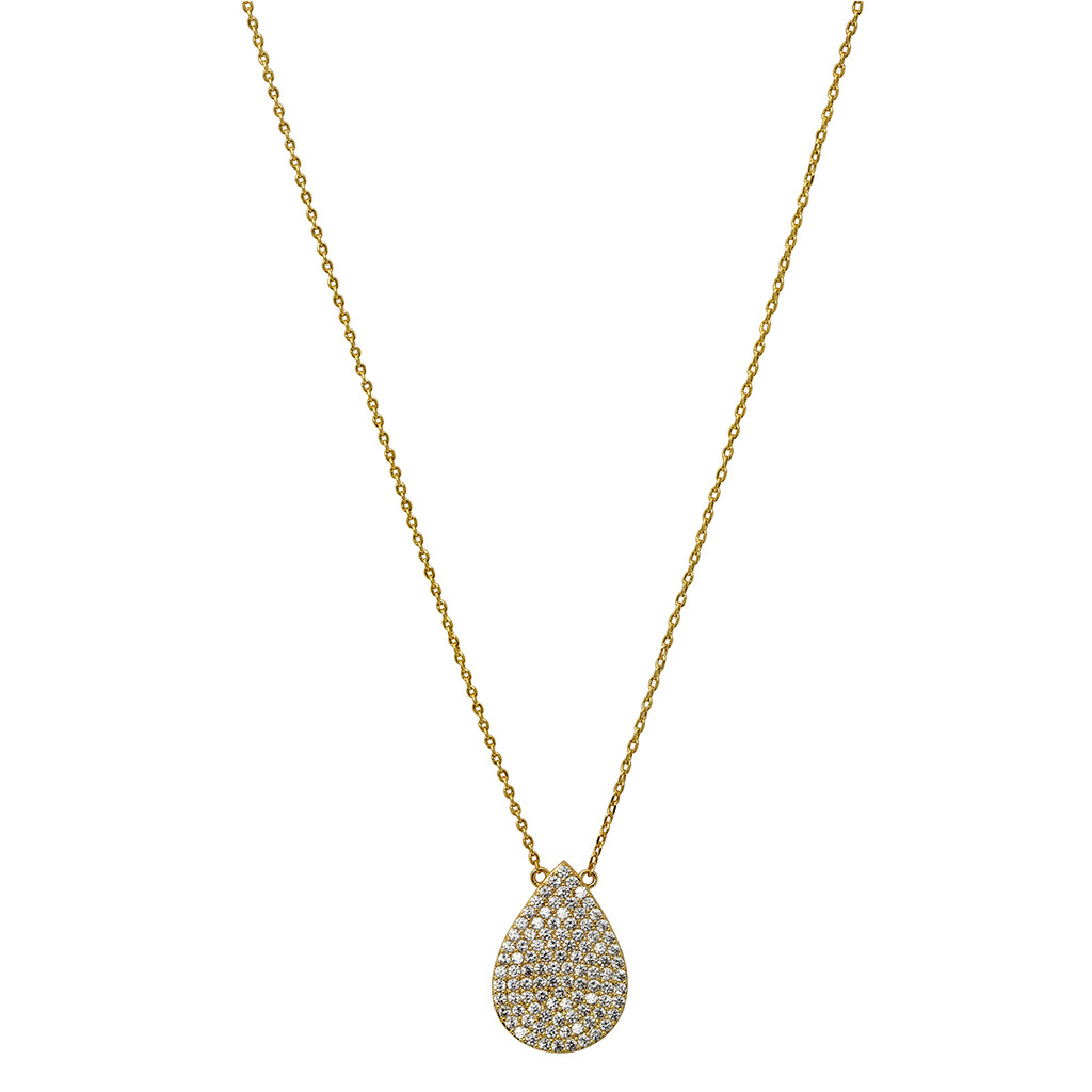 Yellow Gold Plated Micro Pave Teardrop Pendant Necklace