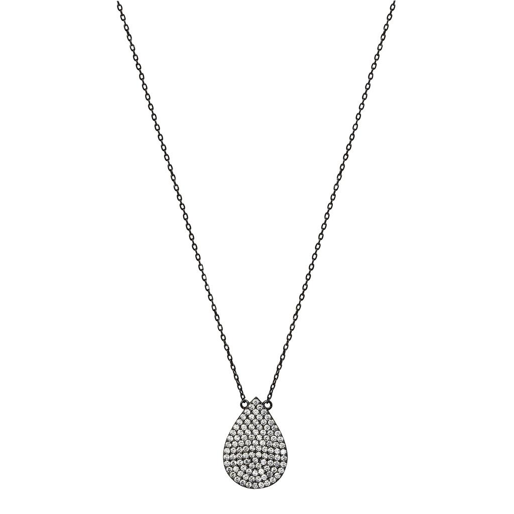 Gunmetal Plated Micro Pave Teardrop Pendant Necklace