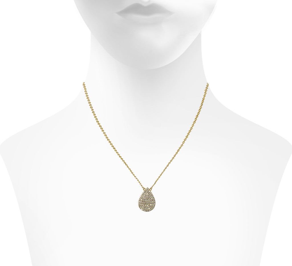Yellow Gold Plated Micro Pave Teardrop Pendant Necklace Shown on Neck