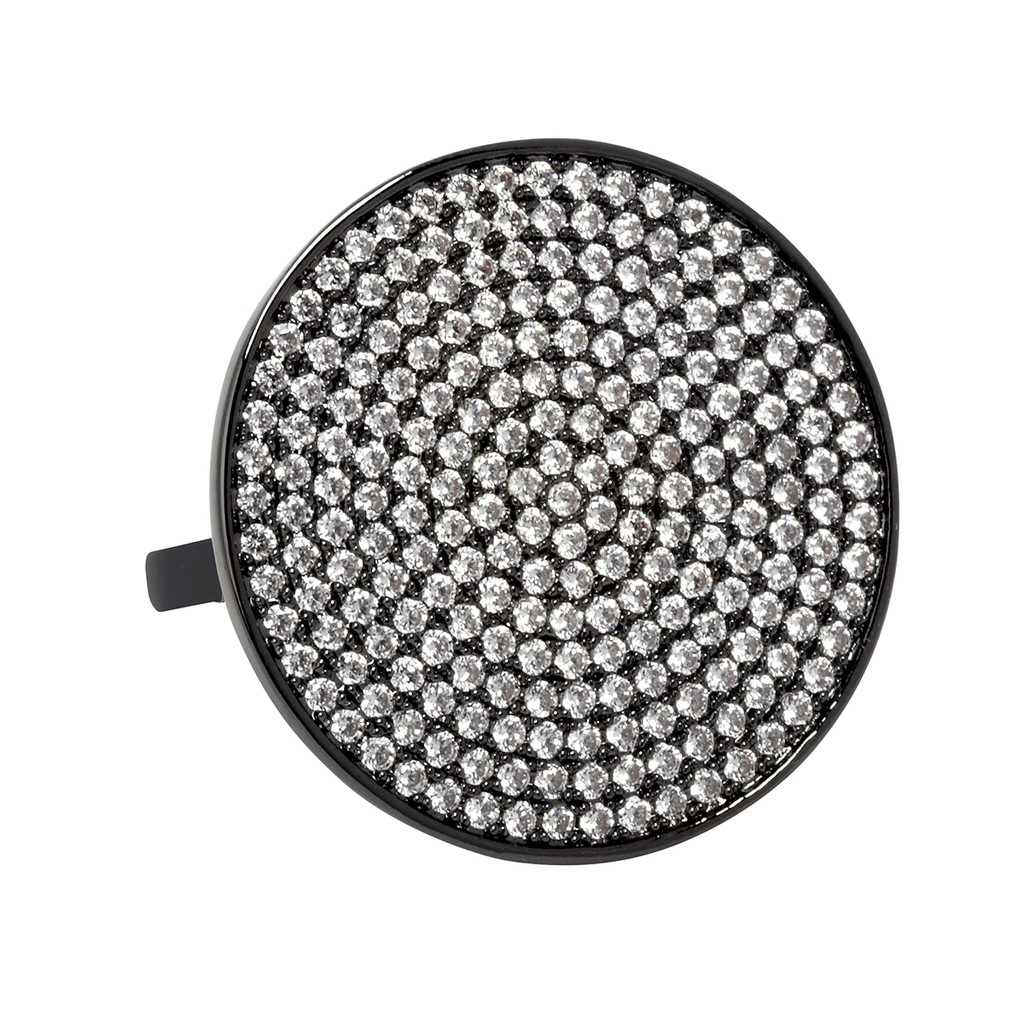 Gunmetal Plated Micro Pave Disc Ring