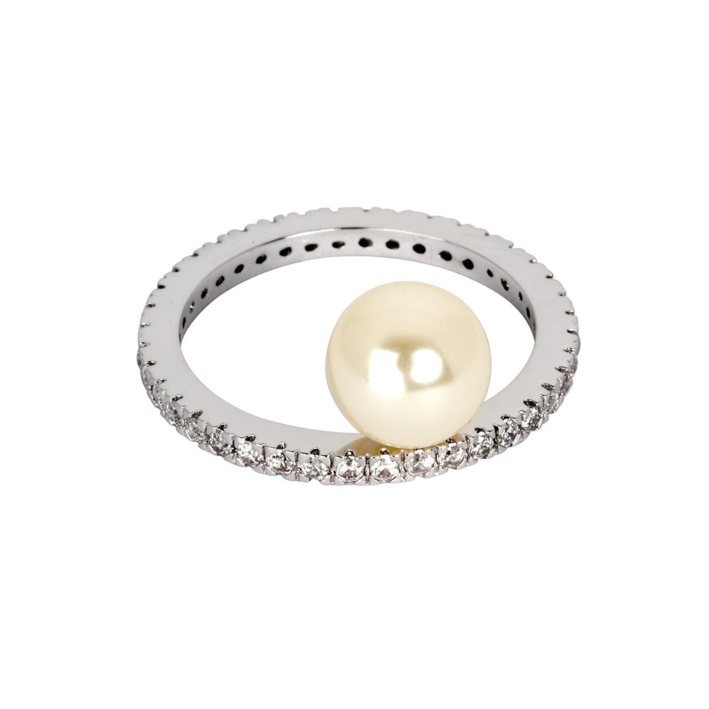 Rhodium Plated Micro Pave Eternity Band with Pearl