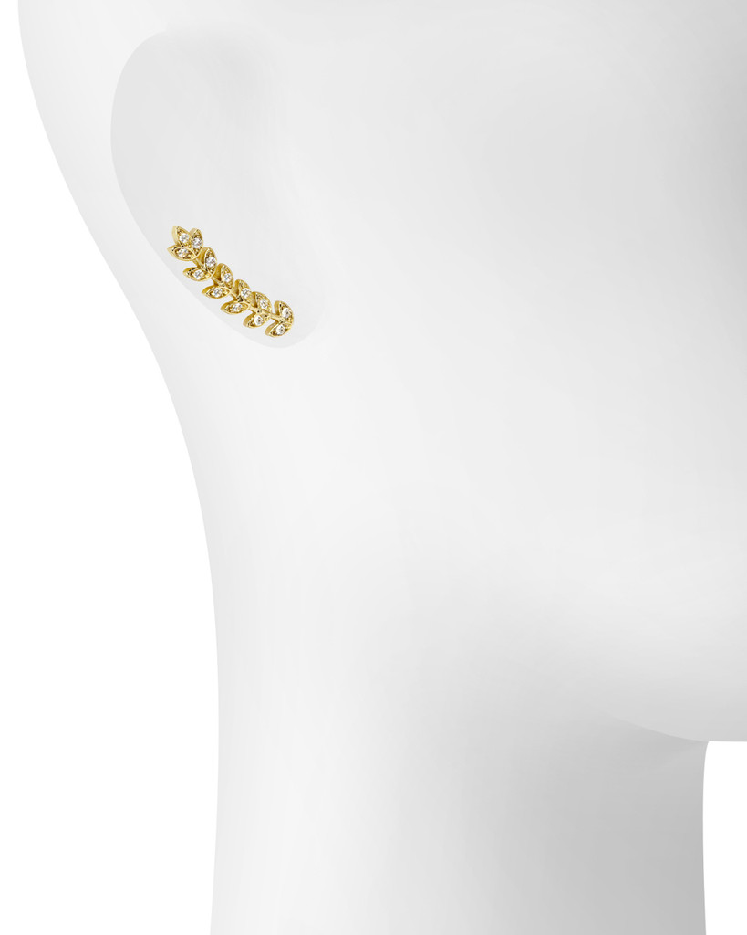 Yellow Gold Plated Vine Earrings Shown on Ear