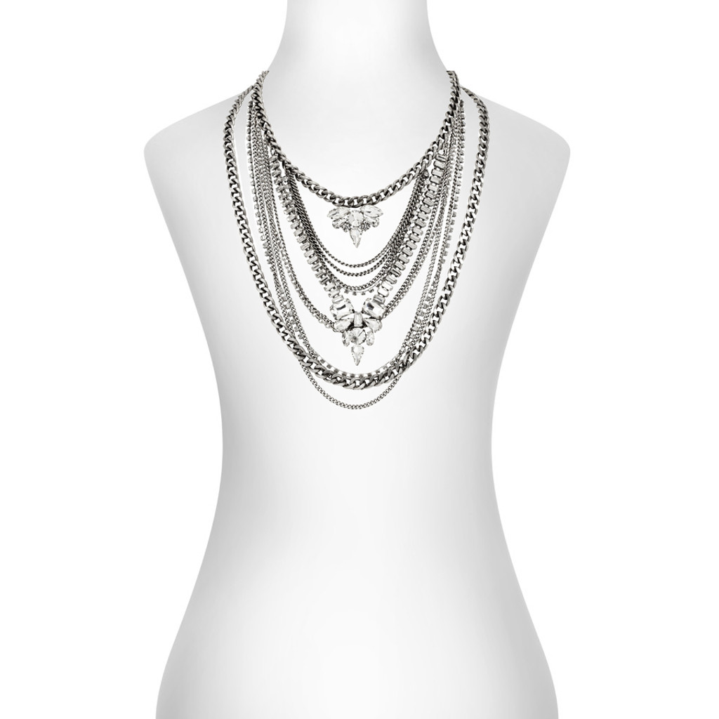 Antique Rhodium Plated Kingsley Necklace Shown on Neck