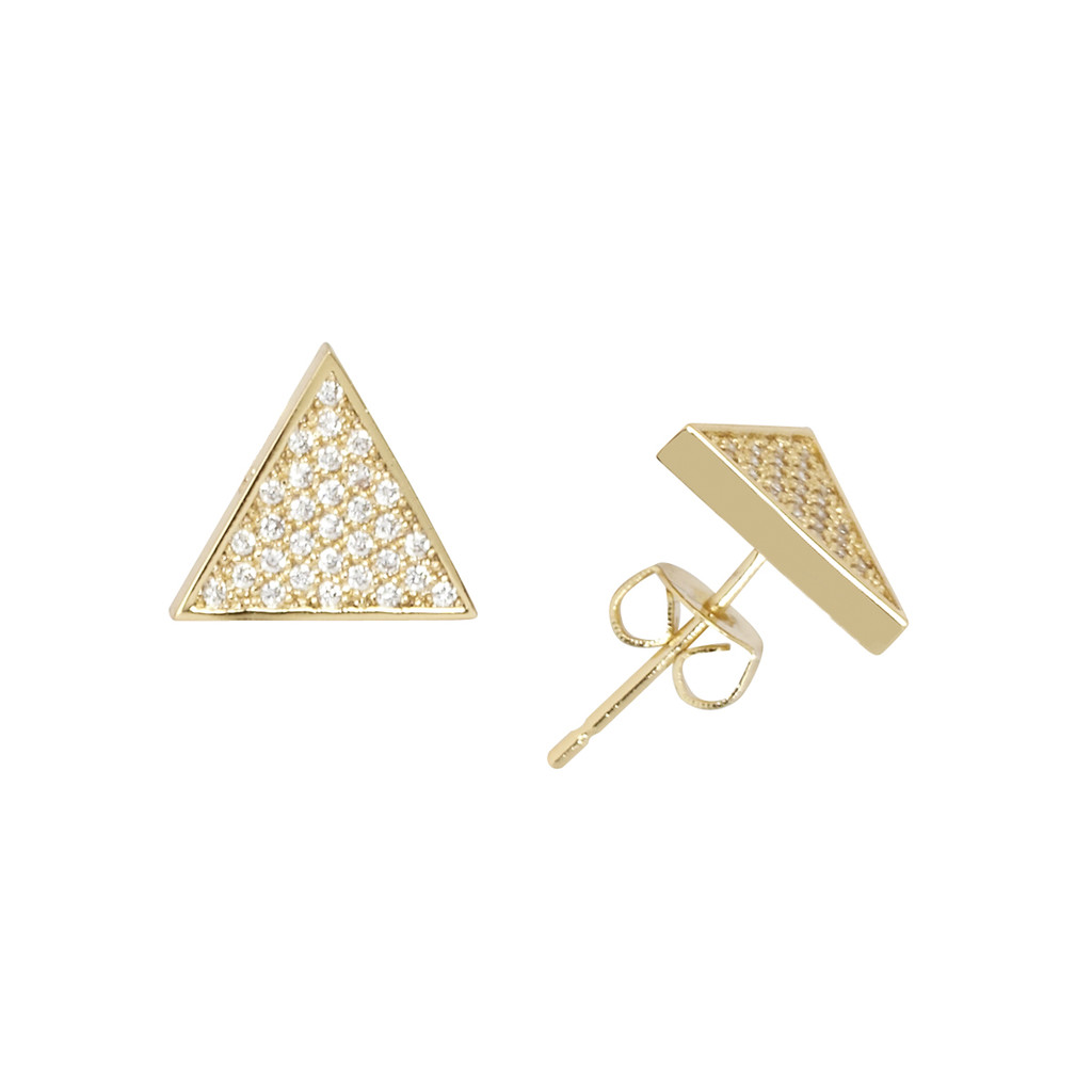 Yellow Gold Plated Micro Pave Triangle Stud Earrings
