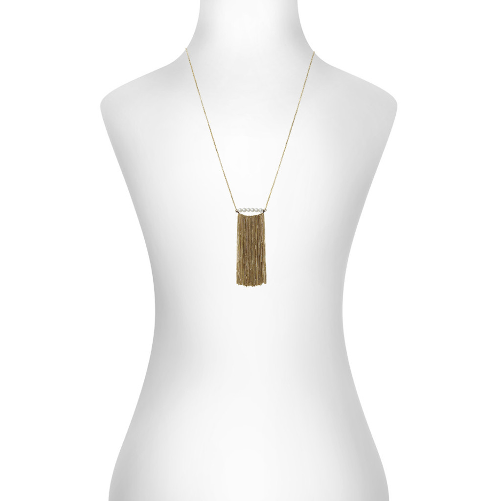 Yellow Gold Plated Rita Necklace Shown on Neck