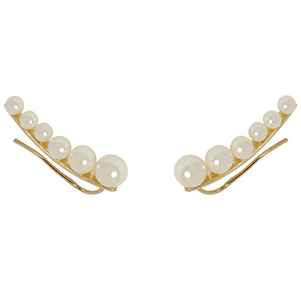 Yellow Gold Plated Graduated Pearl Earring Cuff