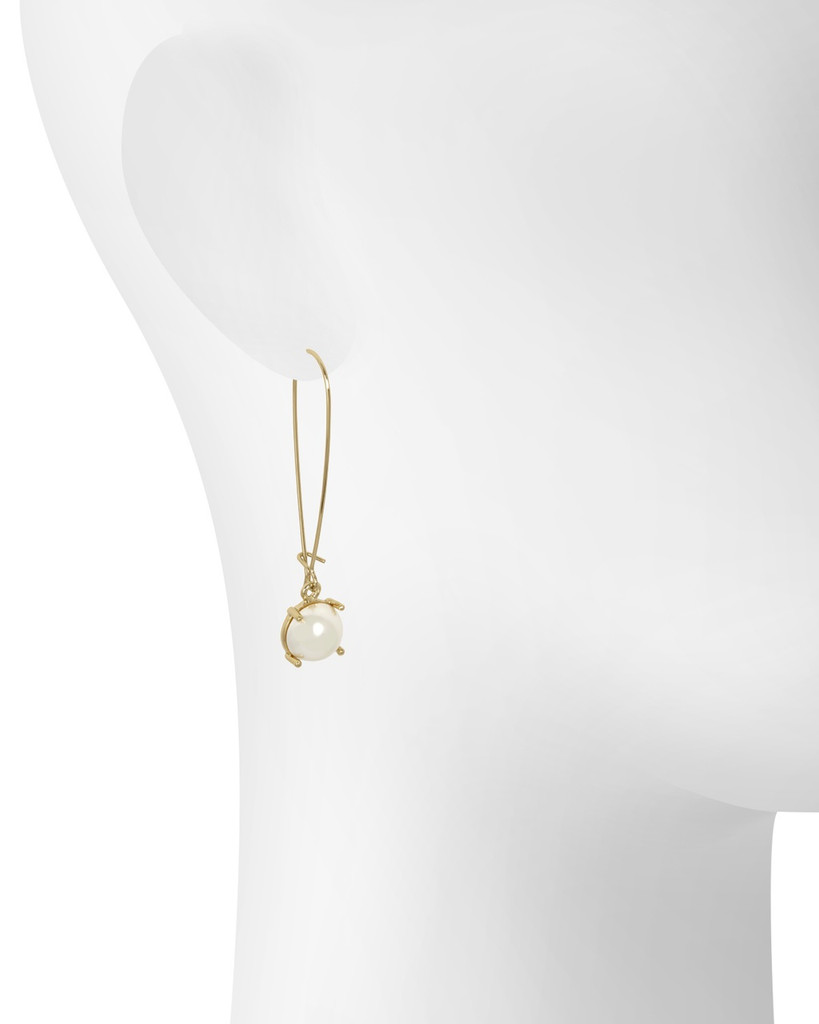 Yellow Gold Plated Pearl Wire Drop Earrings Shown on Ear