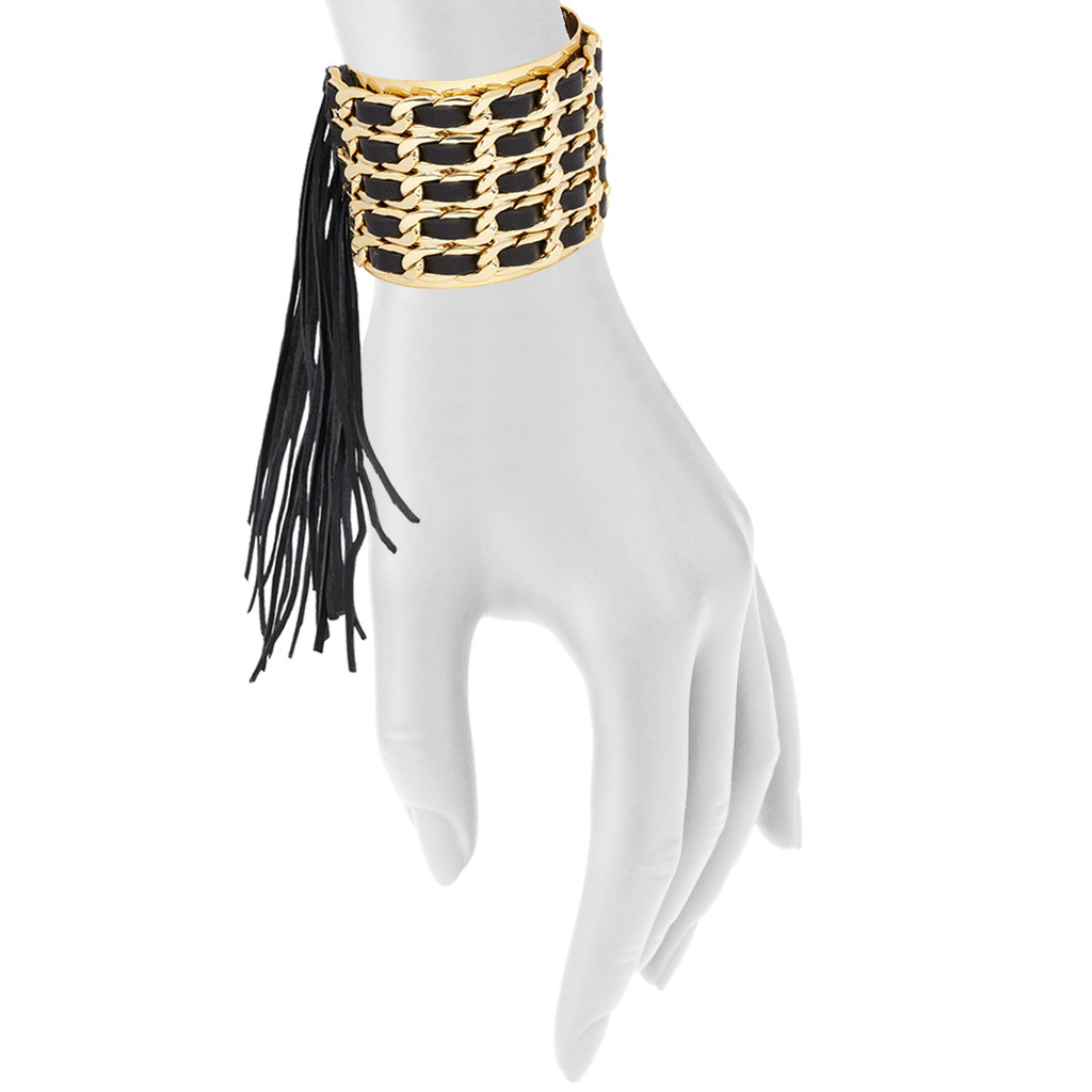 Yellow Gold Plated/Black Leather Jett Cuff Shown on Arm