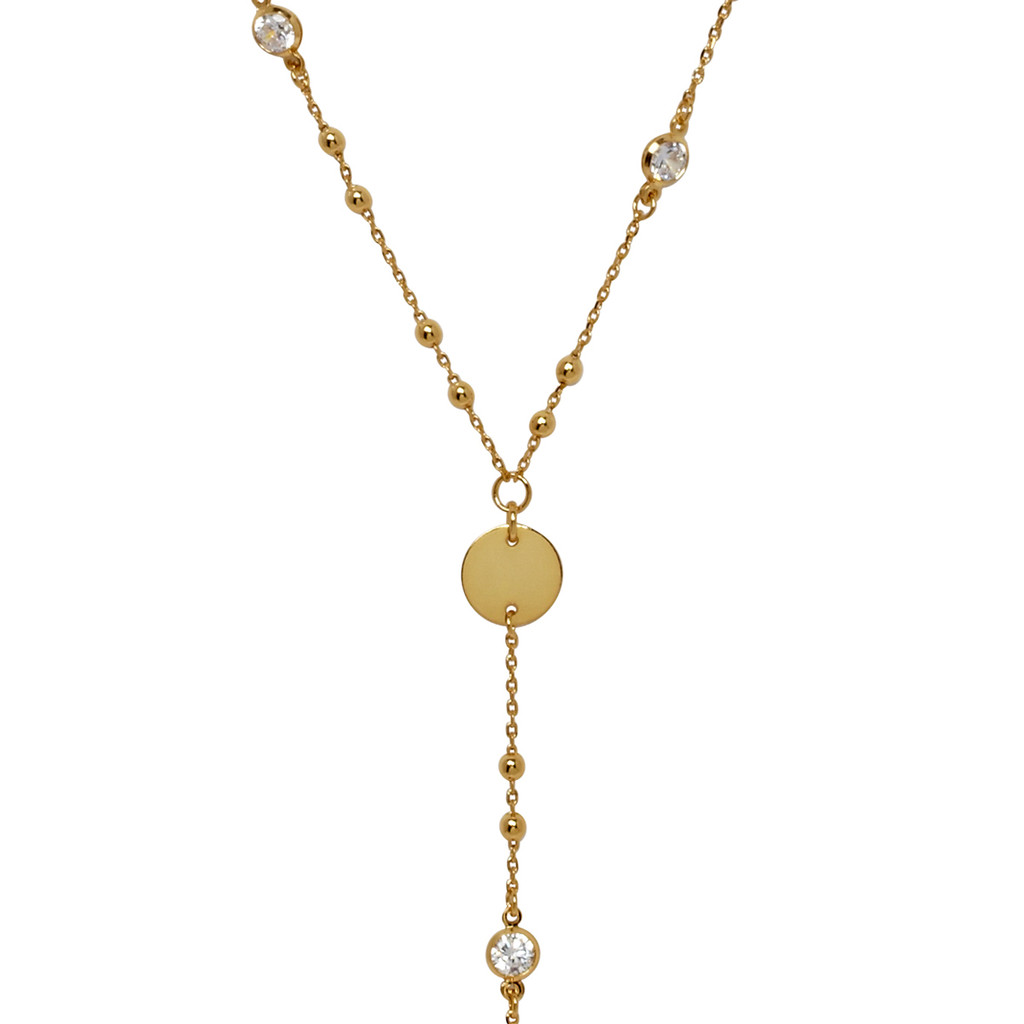 Yellow Gold Plated Amy Necklace Close Up Detail